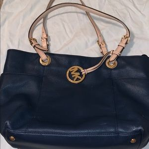 Navy Michael Kors Jet Set Leather Tote